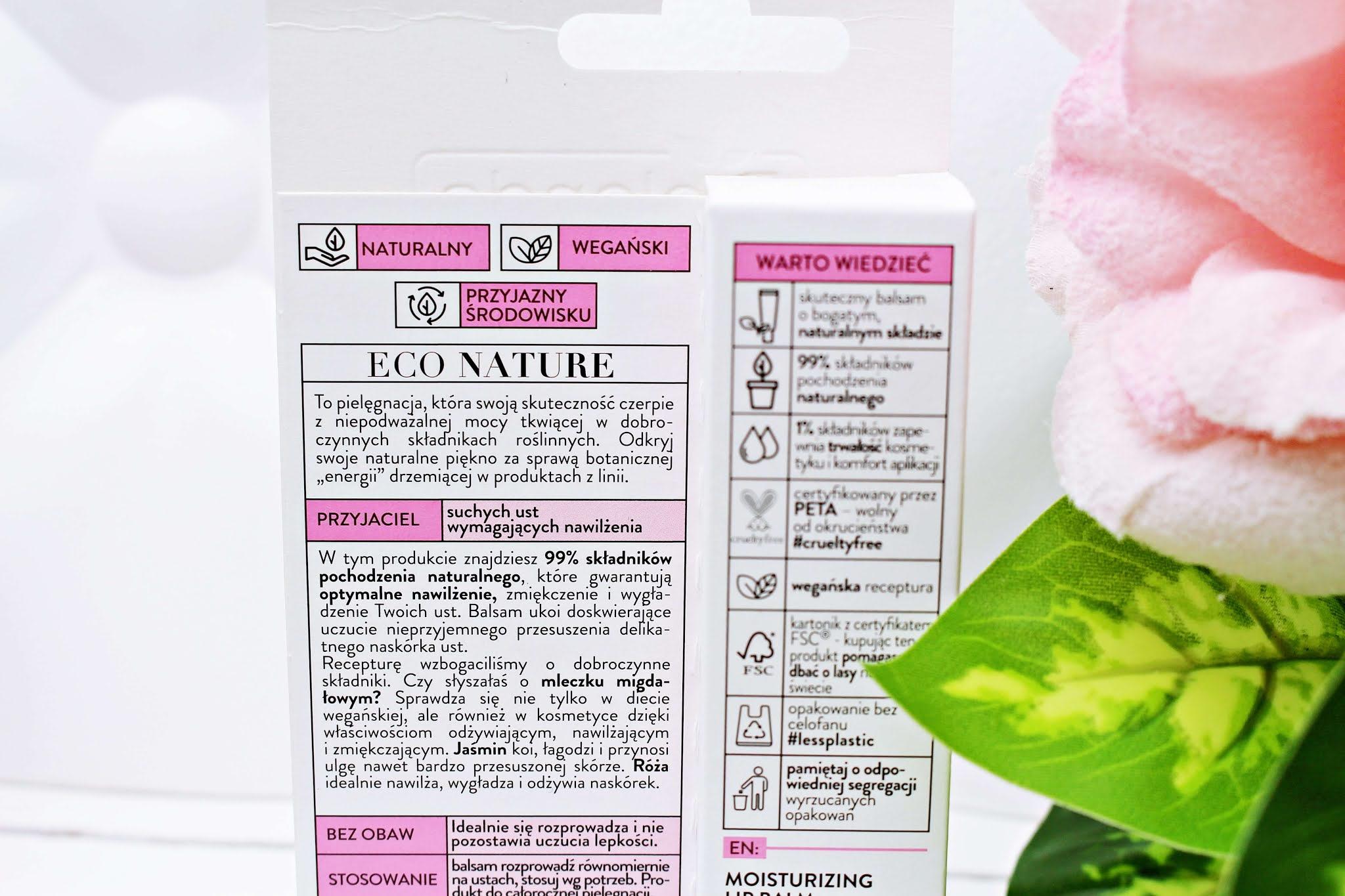 Nawilżający balsam do ust Bielenda Eco Nature Mleczko migdałowe + jaśmin + róża