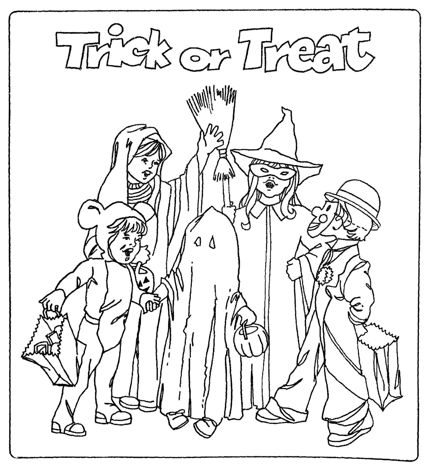 Mostly Paper Dolls Too Color This Trick Or Treat Page