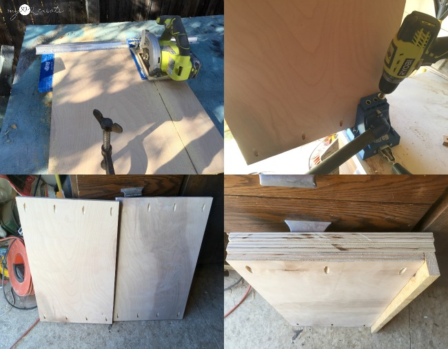 cutting plywood for dresser extensions