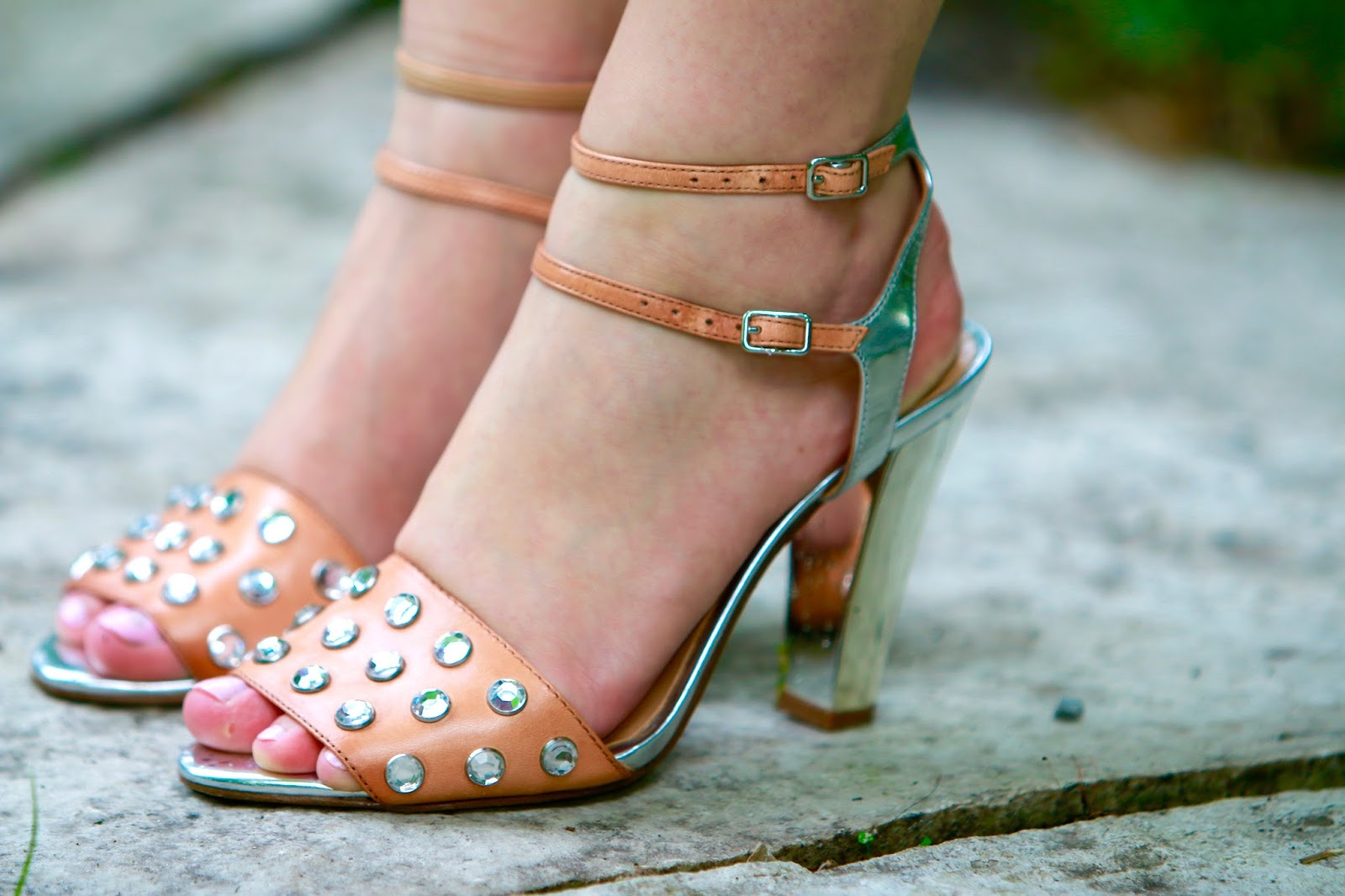 nude jeweled heels