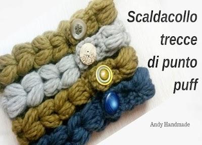 Cuello de trenzas con punto crochet hojaldre o puff