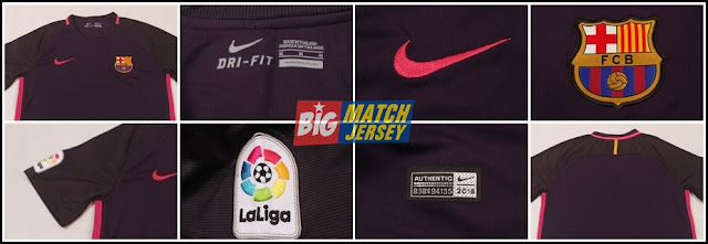 Detail Baju Bola Barcelona Away Official 2016-2017 Grade Ori (GO)