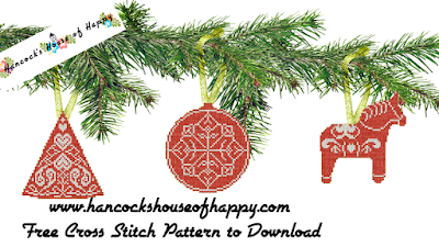 free nordic stytle cross stitch christmas tree decoration pattern