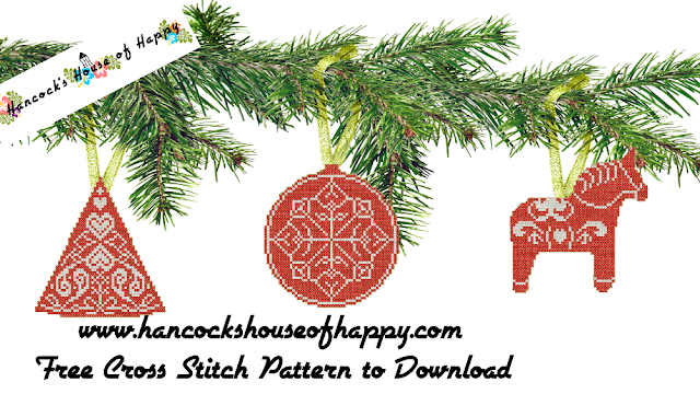 Scandinavian Dala Horse Cross Stitch Pattern Plus Nordic Style Cross Stitch Christmas Decorations.