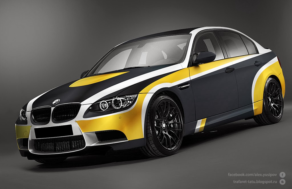 Next sketch for BMW M3 CRT in gold matt, white, silver and black - car body repair sample resume
