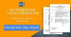 Download Contoh Format SK Pembagian Tugas  dan Jadwal Mengajar Terbaru