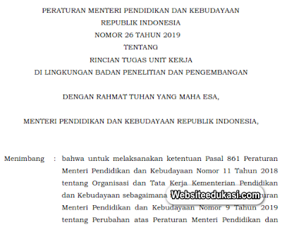 Permendikbud 26 Tahun 2019, Rincian Tugas Unit Kerja di lingkungan Badan Litbang