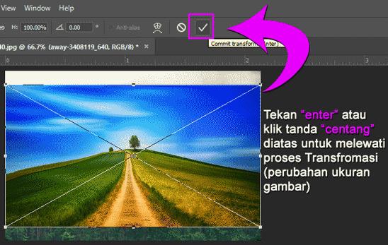 Melewati proses perubahan ukuran gambar yang ditambahkan di Photoshop
