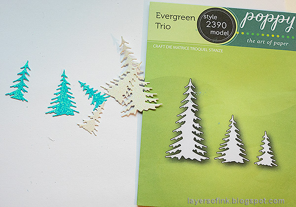 Layers of ink - Scenic Winter Ornaments Tutorial by Anna-Karin Evaldsson. Poppy stamps Evergreen Trio