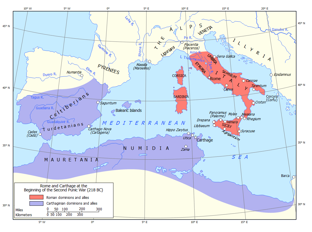 Famous Pharaohs: Map of the Roman Republic and Carthage at the start on