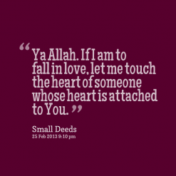 Ya Allah if i am to fall in love, let me touch the heart - quote
