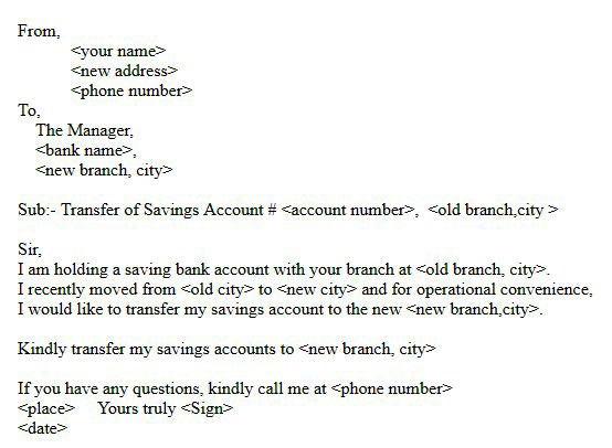 bank account transfer application pdf