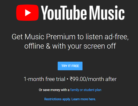 YouTube Music Is Not Free