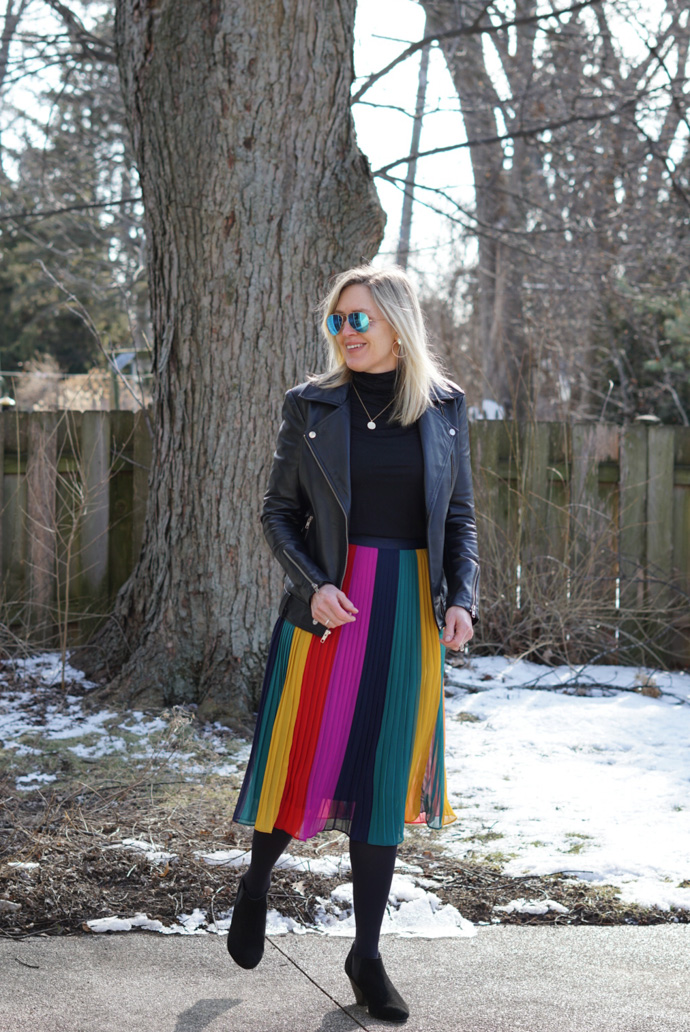 what to wear with a pleated midi skirt in the winter