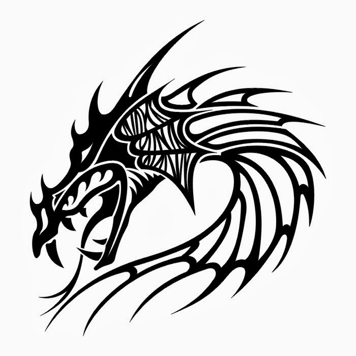 Dragon head tattoo stencil
