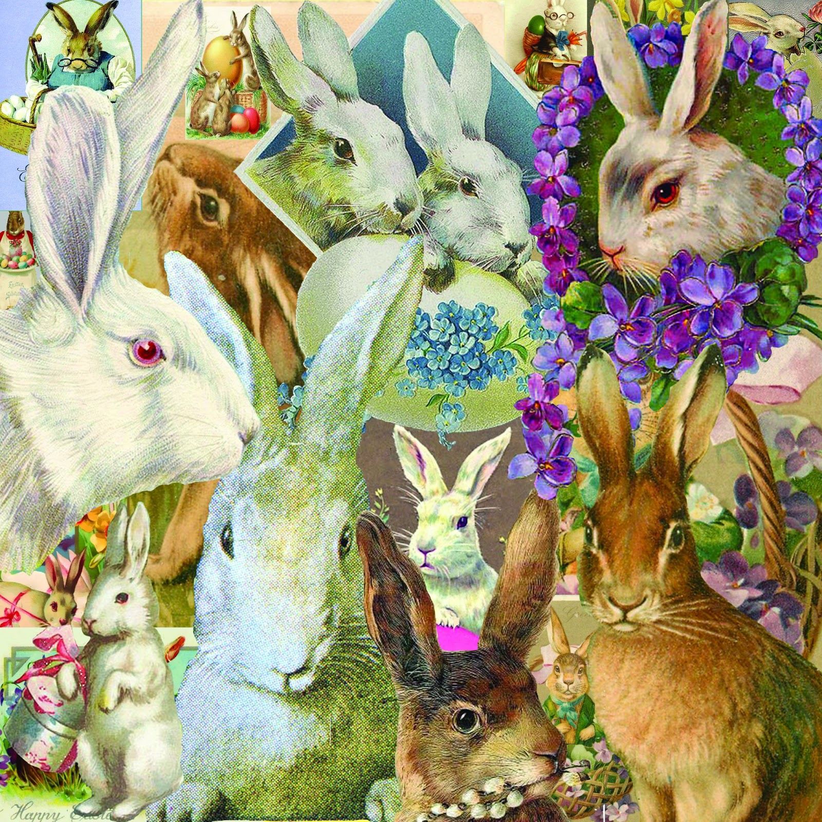 The Artzee Blog: 12 X 12 Inch Vintage Easter Bunny Collage
