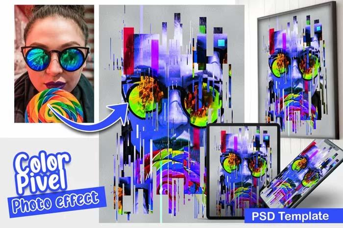 Color Pixel PSD Photo Template