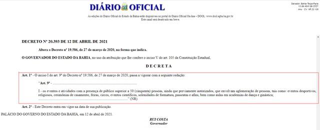 Decreto do governo da Bahia libera realização de eventos com público de até 50 pessoas