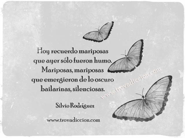 hoy recuerdo mariposas que ayer sólo fueron humo. Mariposas, mariposas que emergieron de lo oscuro bailarinas, silenciosas.