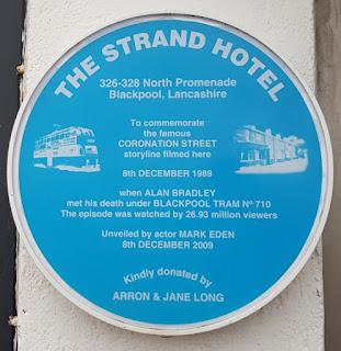Alan Bradley's Coronation Street tram plaque at The Strand Hotel in Blackpool