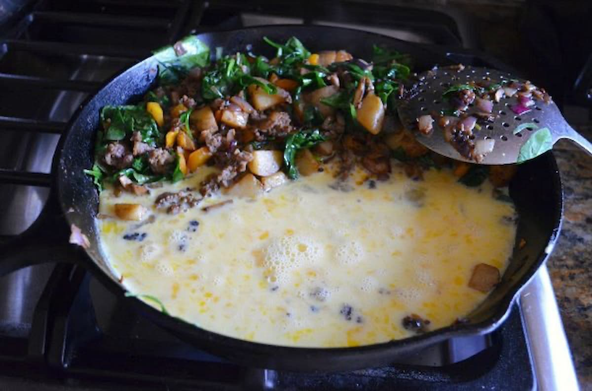 Push Breakfast Sausage Potatoes to side of pan and cook eggs for Breakfast Burritos.
