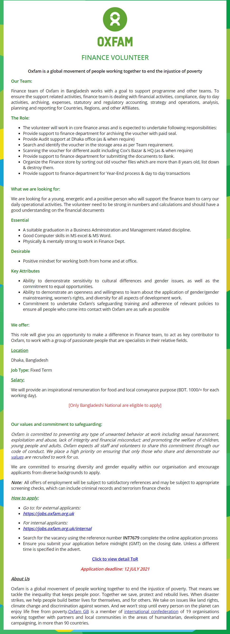 Oxfam Job Circular 2021