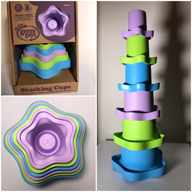 Blue, green and purple stacking cups in soft cornered star shape made from recycled plastic made by US brand Green Toys