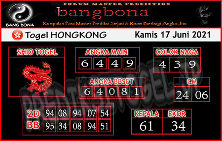 Prediksi Bangbona HK Kamis 17 Juni 2021
