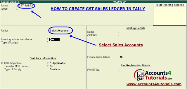 creation of gst sales ledger in tally