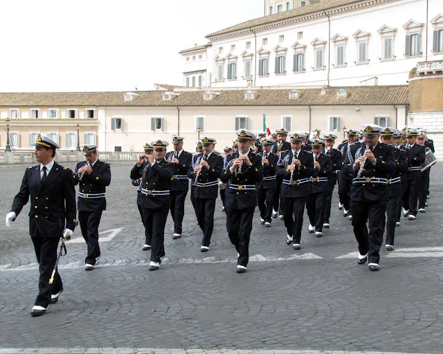 The Navy band at the changing of the guard, Quirinal Palace, Rome