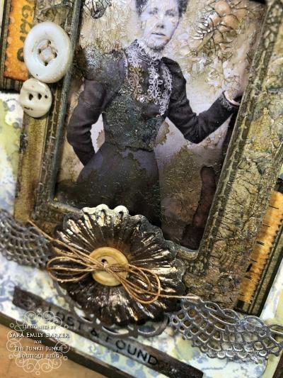 Sara Emily Barker https://sarascloset1.blogspot.com Vintage Mixed Media Card Tim Holtz Sizzix Crochet Burst 3D Impresslits 5