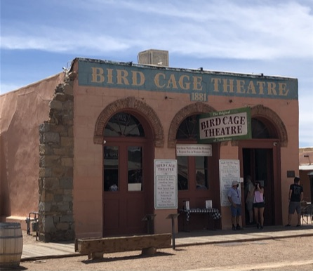 old theater building in desert town