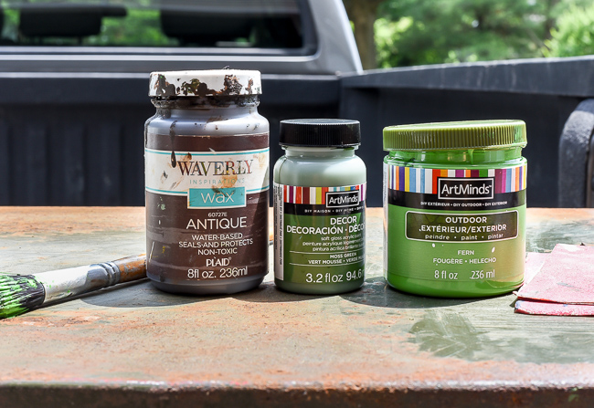 Supplies for creating an aged look with paint