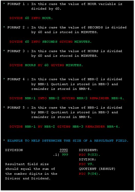 COBOL Divide Example