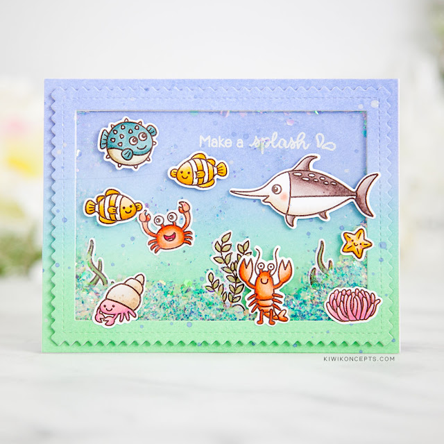 Sunny Studio Stamps: Best Fishes Frilly Frames Dies Ocean Themed Cards by Keeway Tsao