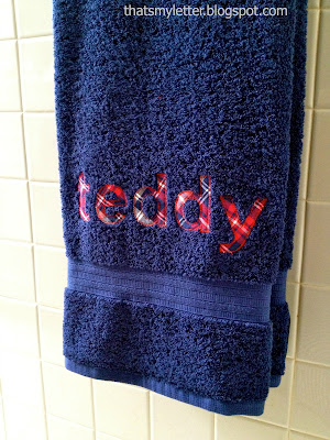 full name personalization on bath towel