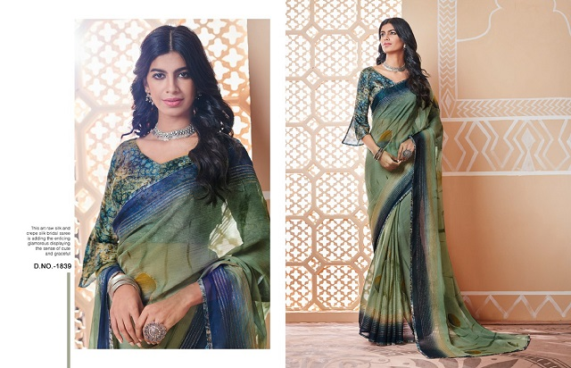 Green shaded georgette casual wear saree