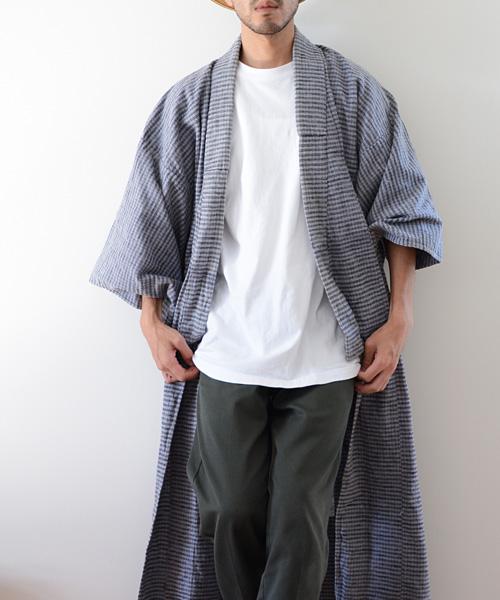 アンティーク着物 チェックネル 寝巻 50年代 ジャパンヴィンテージ FUNS 野良着 noragi
