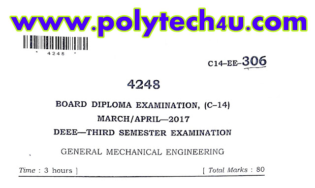 GENERAL MECHANICAL ENGINEERING PREVIOUS QUESTION PAPER C-14 DEEE