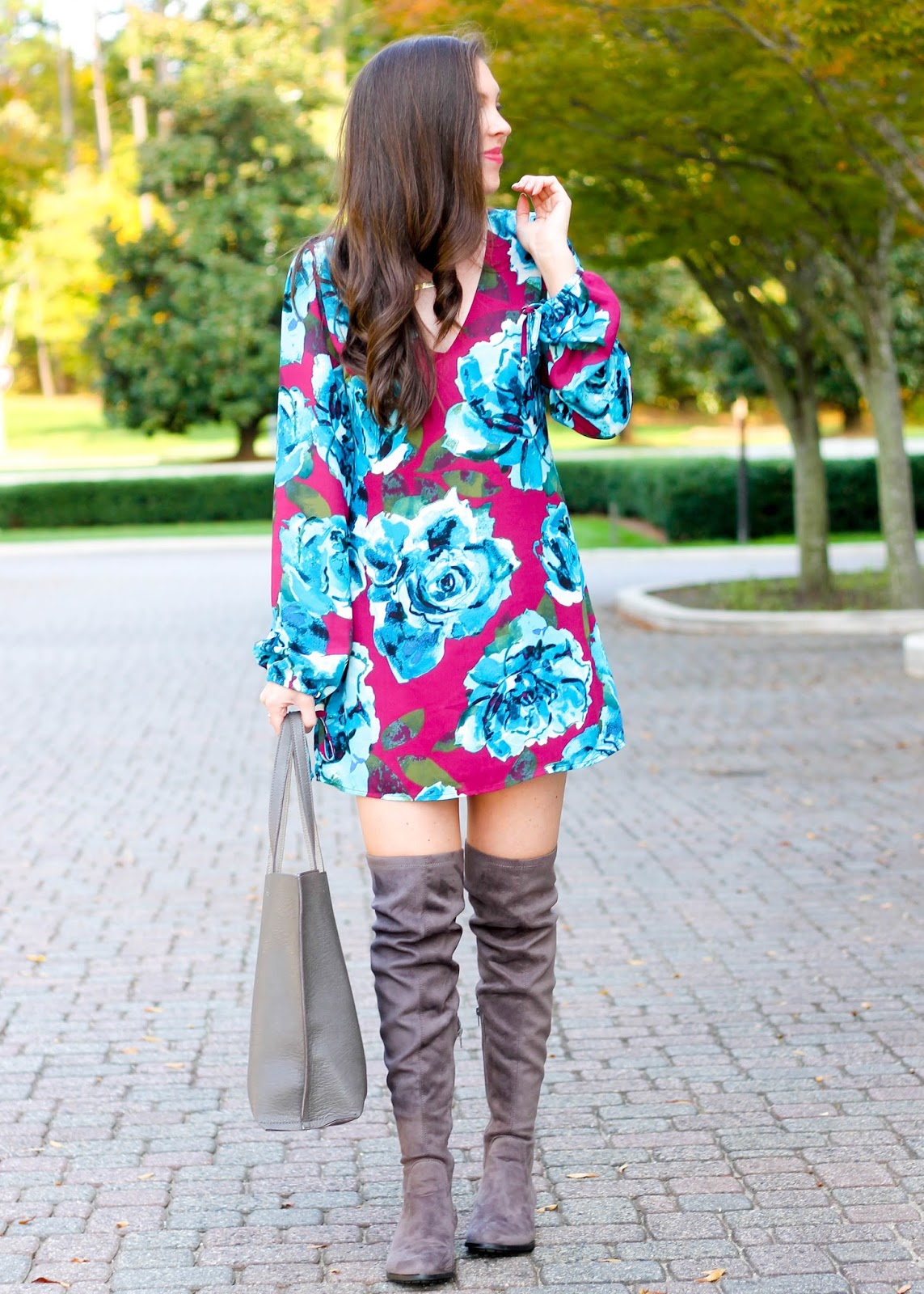 Leith V-neck floral long sleeved dress, floral dress, floral fall dress, fall outfit, fall inspiration, fall trends, over the knee boots, otk suede boots, over the knee faux suede, best fall boots, v-neck long sleeve dress, nc fashion blogger, nordstrom, forever 21 boots