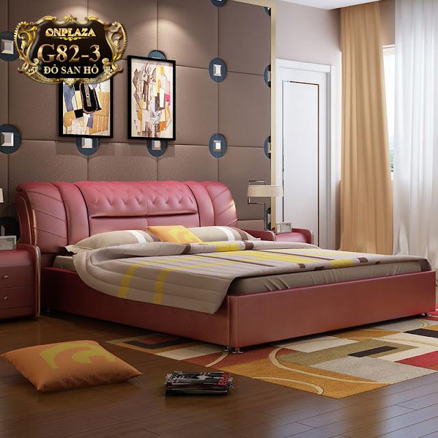 Bộ giường ngủ bọc nệm da hiện đại mang gam màu nữ tính