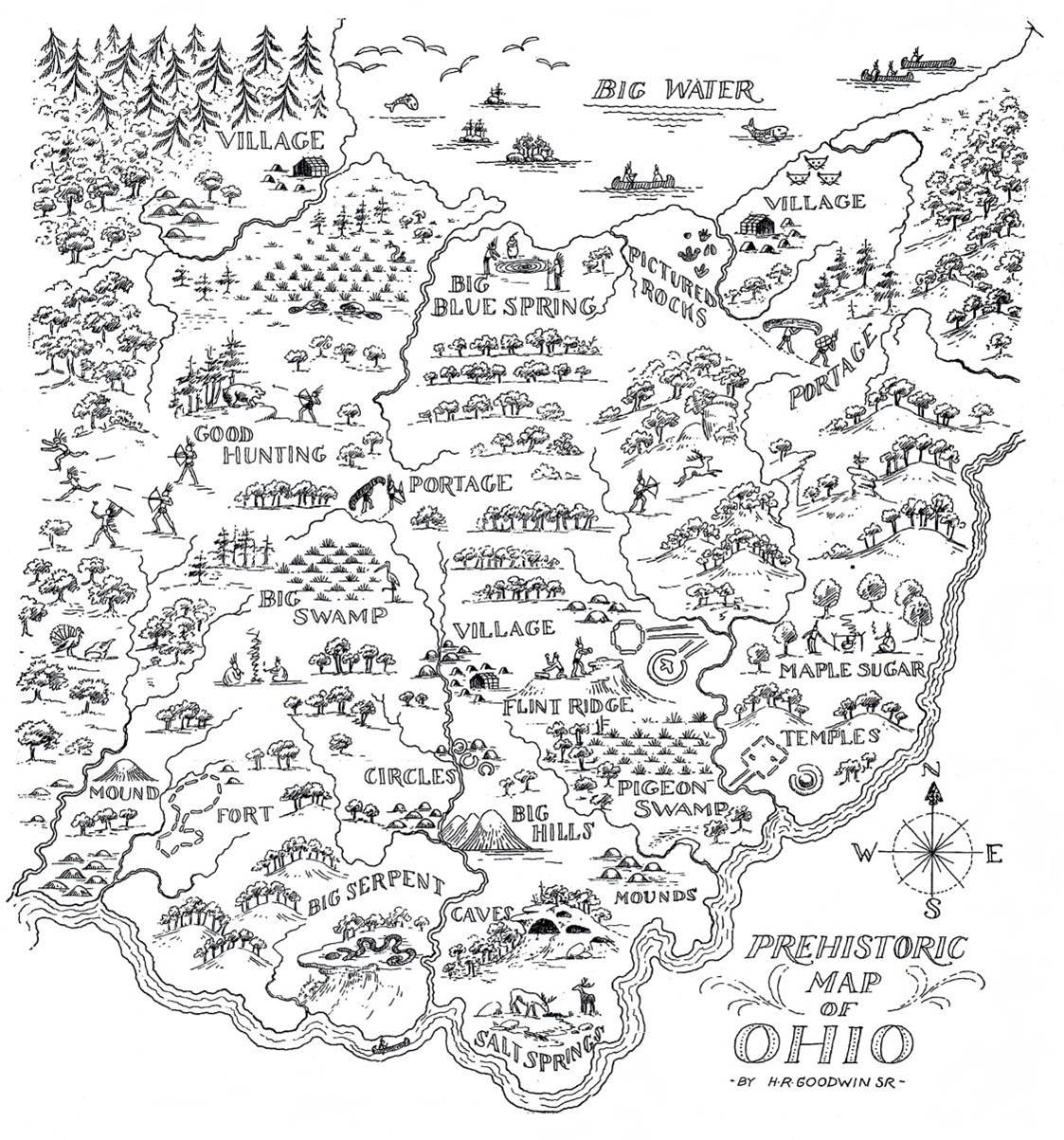 PREHISTORIC MAP OF OHIO | Ohio History Connection on map of new york indian tribe, map of florida indian tribe, map of huron indian tribe, map of kalispell indian tribe, map of north america indian tribe, map of mandan indian tribe, map of maidu indian tribe,