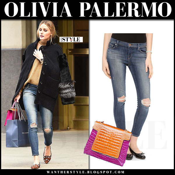 Olivia Palermo in black fur agnona cardigan, ripped jeans j brand 835 and brown flats what she wore