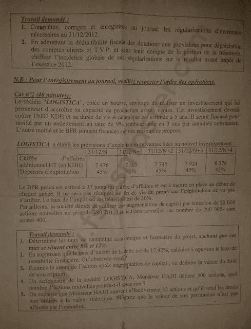 Exemple Concours Master Comptabilité Contrôle Audit (CCA) 2013-2014 - Fsjes Souissi