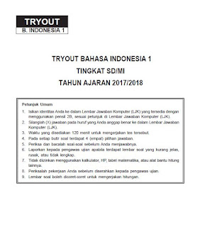 Latihan Soal USBN Bahasa Indonesia SD MI 2018