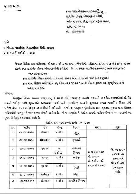 GOVT PRIMARY SCHOOL MA STD-3 TO 8 SECOND SEMESTER EXAM TIME TABLE FERFAR  BABAT EDUCATION DEPARTMENT NO SUDHARELO GR