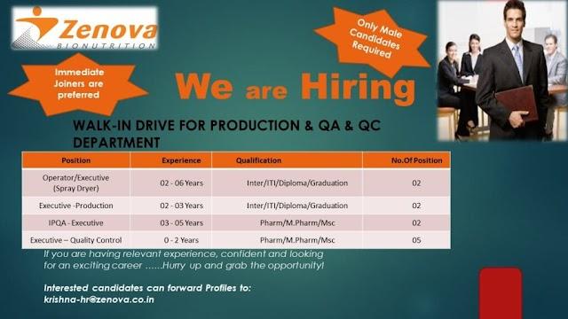 Zenova Bionutrition | Urgent openings in Production/QC/QA | Send CV