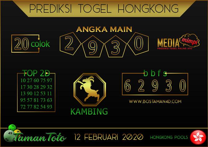 Prediksi Togel HONGKONG TAMAN TOTO 12 FEBRUARY