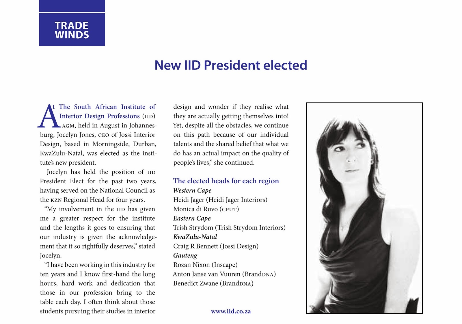 Jossi Interior Design Jocelyn Jones Elected President Of The South African Institute Of The Interior Design Professions
