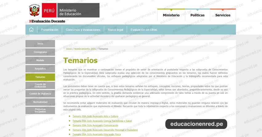 MINEDU: Temario para el Examen de Nombramiento Docente 2021 (.PDF) www.minedu.gob.pe